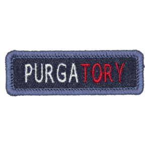 blue denim patch embroidered with the word PURGATORY