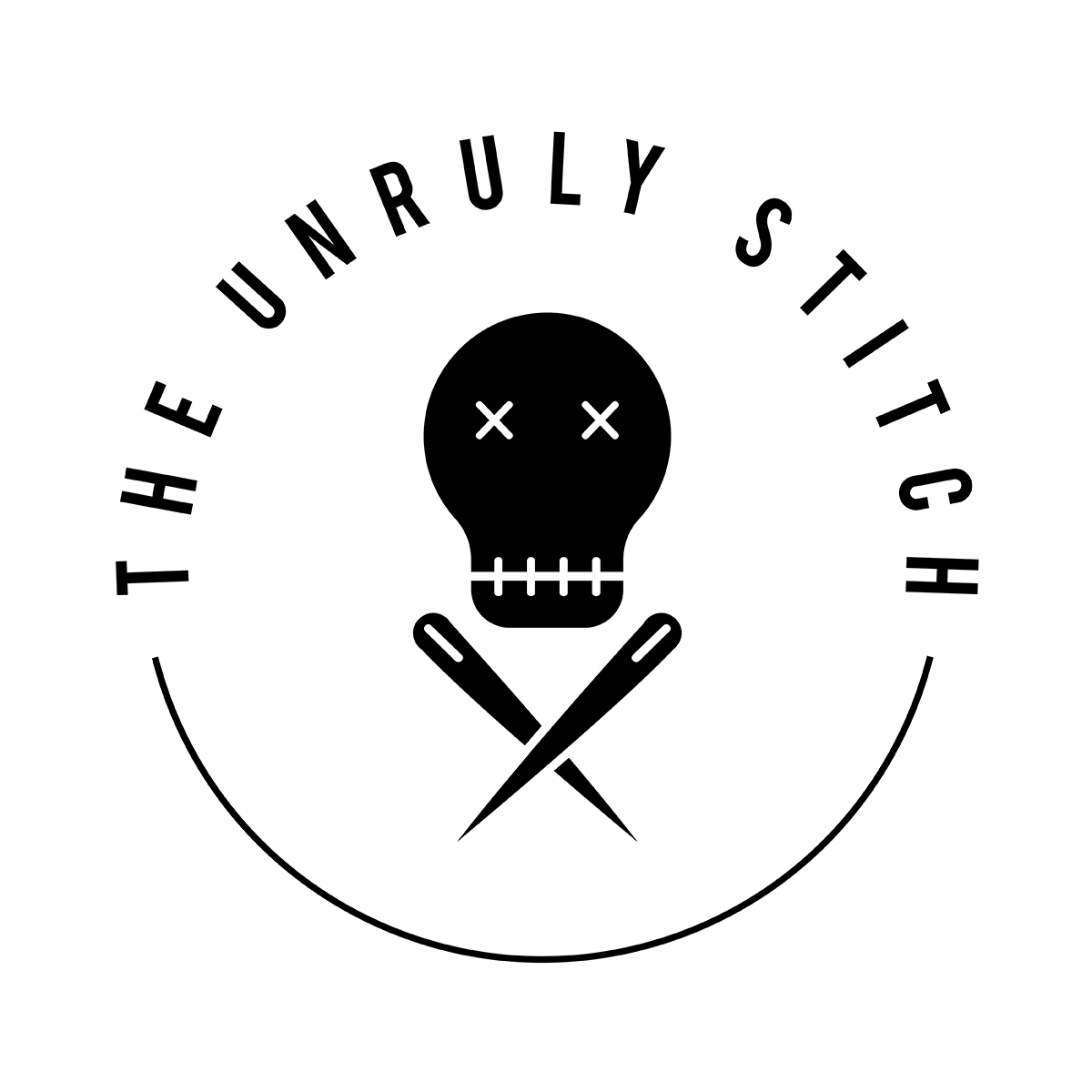 Logo for The Unruly Stitch. skull over two crossed sewing needles