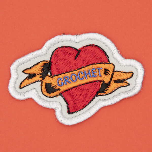 crochet heart tattoo embroidered patch by The Unruly Stitch