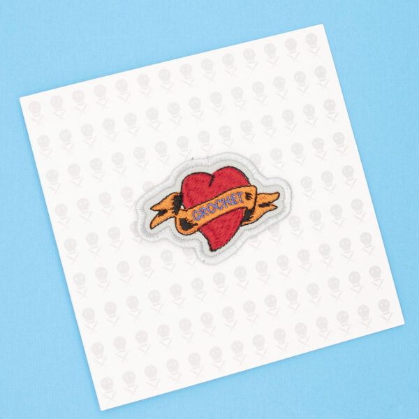 gift card with crochet heart tattoo embroidered patch by The Unruly Stitch