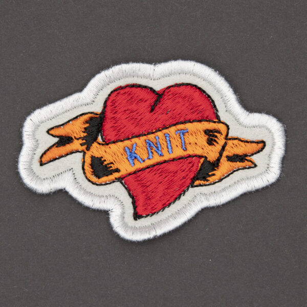 knit heart tattoo embroidered patch by The Unruly Stitch