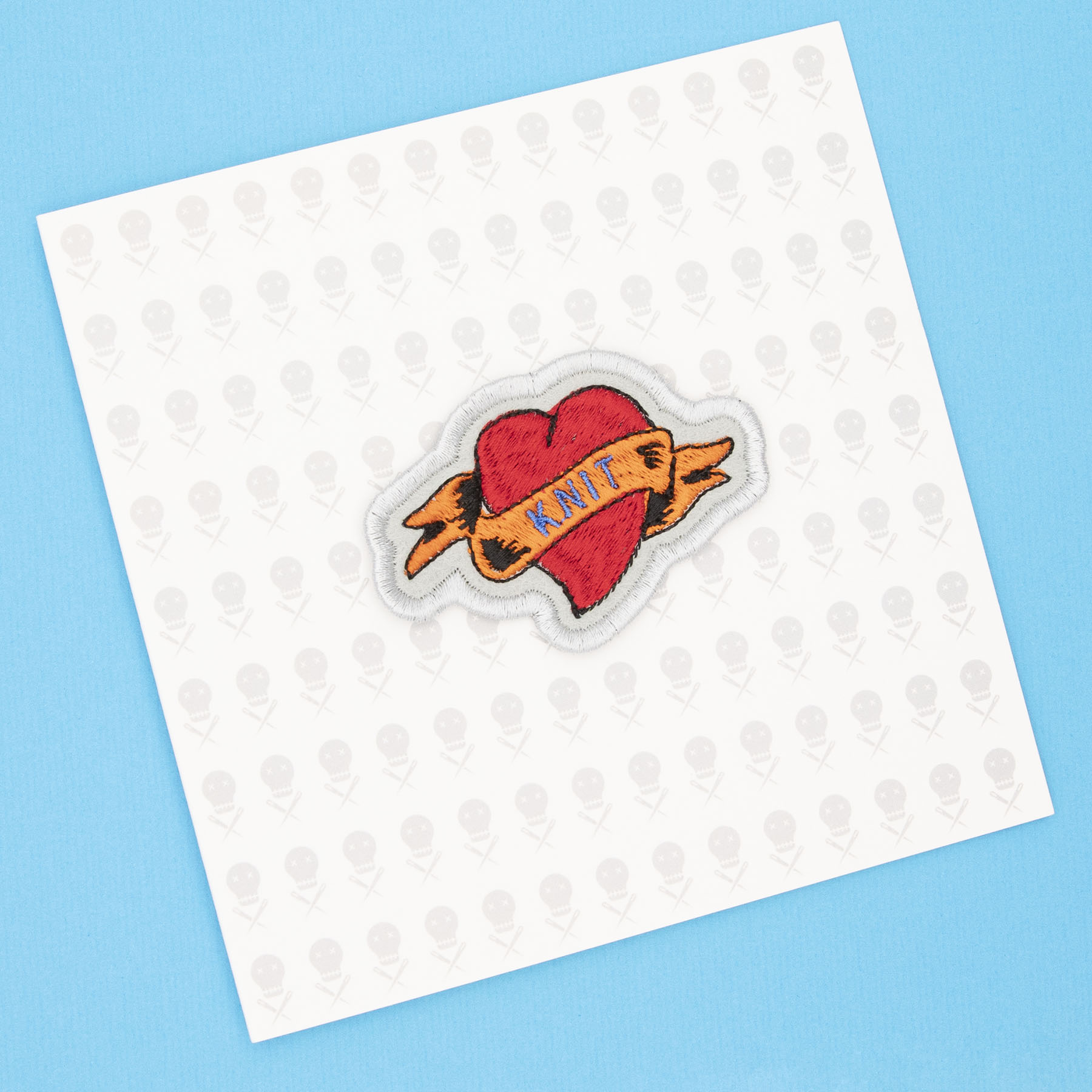 giftcad wih knit heart tattoo embroidered patch by The Unruly Stitch