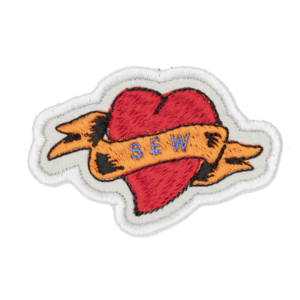 sew heart tattoo embroidered patch by The Unruly Stitch