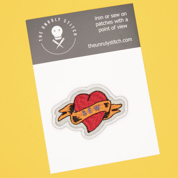 postcard with sew heart tattoo embroidered patch by The Unruly Stitch