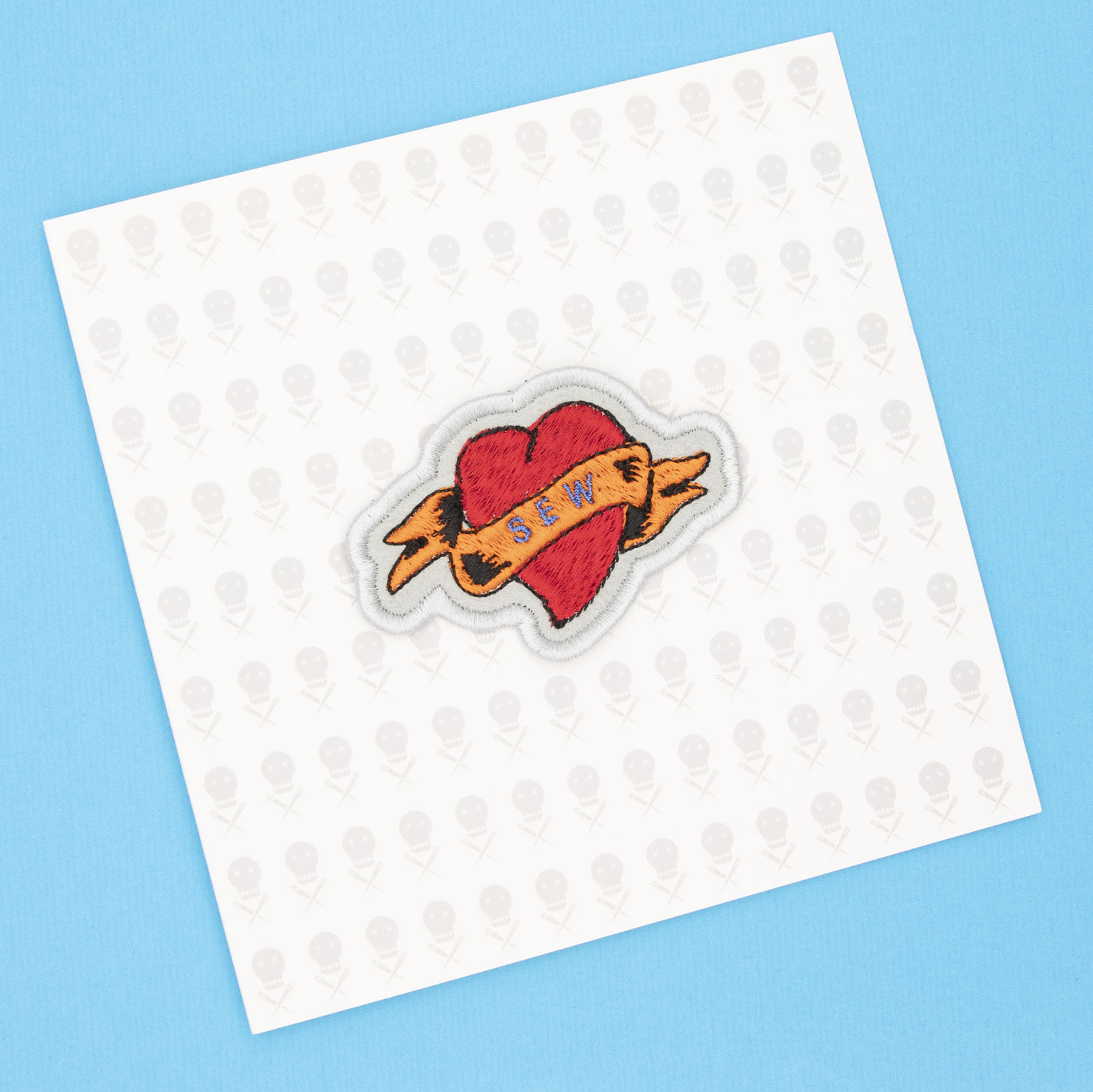 gift card with sew heart tattoo embroidered patch by The Unruly Stitch