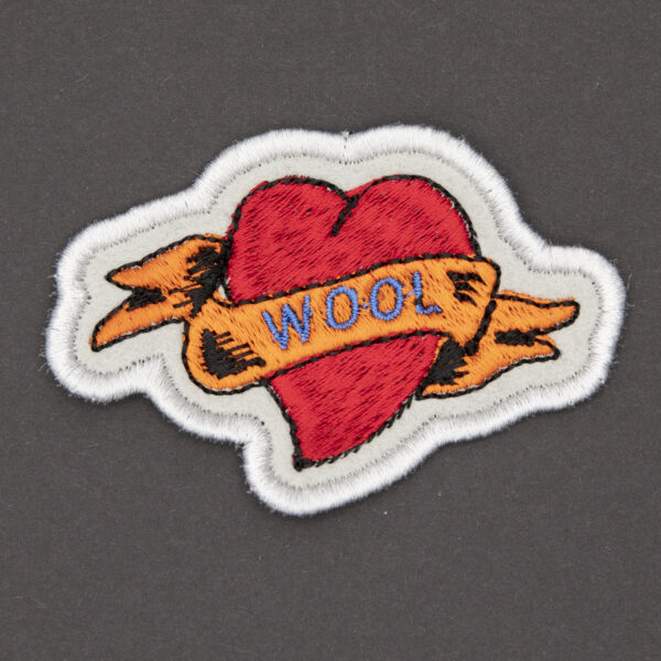 WOOL heart tattoo embroidered patch by The Unruly Stitch