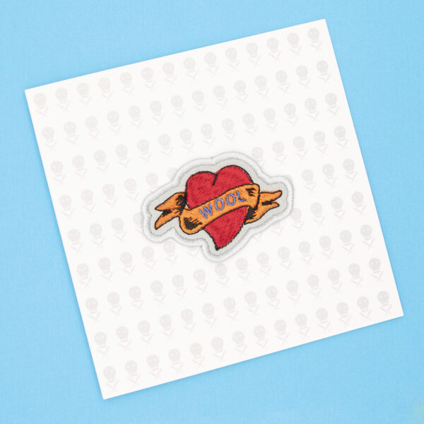 gift card with WOOL heart tattoo embroidered patch by The Unruly Stitch