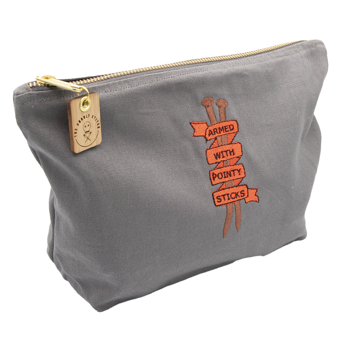 """Zipped cotton pouch bag embroidered with a banner, knitting pins and the text """"armed with pointy sticks"""""""