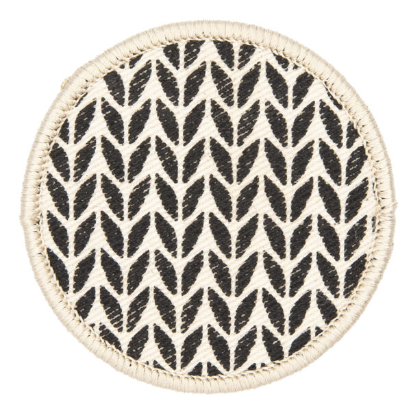 patch made from cream denim screen printed with a garter stitch print and finished with an embroidered border