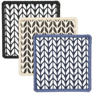3 square patches screen printed with garter stitch design and finished with embroidered border black, cream. blue