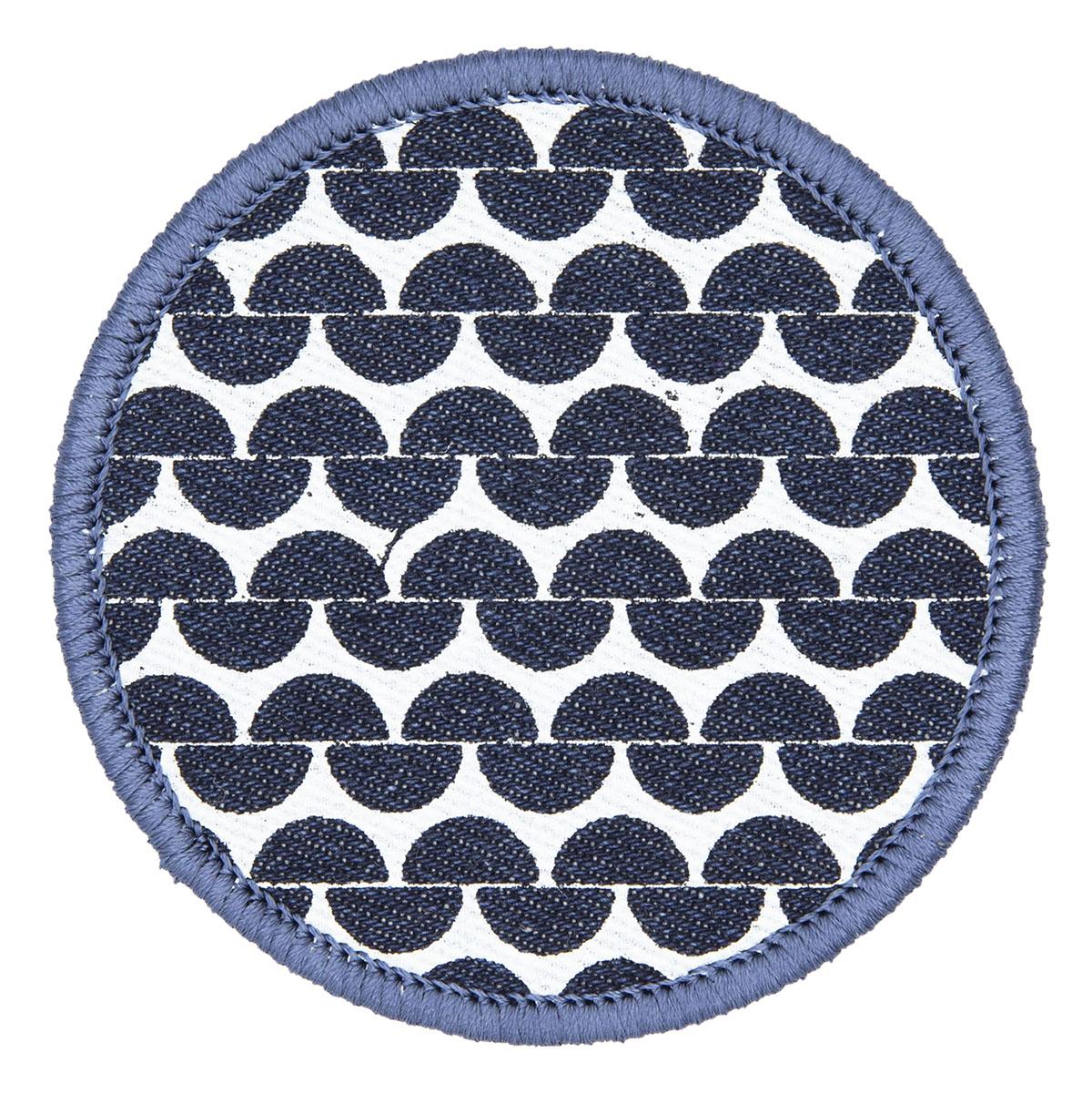 embroidered patch screen printed garter stitch design on denim