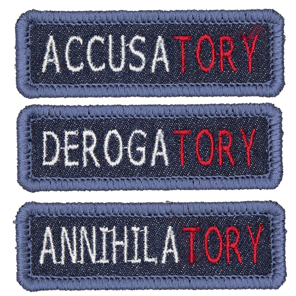 three embroidered patches Accusatory Derogatory Annihilatory
